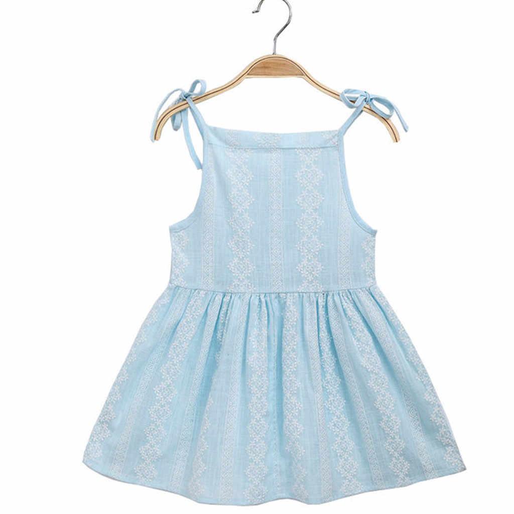 ARLONEET/2019 новое летнее платье; Сетчатое праздничное платье принцессы в полоску с цветочным рисунком для маленьких девочек; сарафан; одежда; Z0205