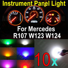 WLJH 10X White Blue Red Green Pink YellowWedge Base Led Illumination Instrument Panel Light For Mercedes R107 W123 W124 W201
