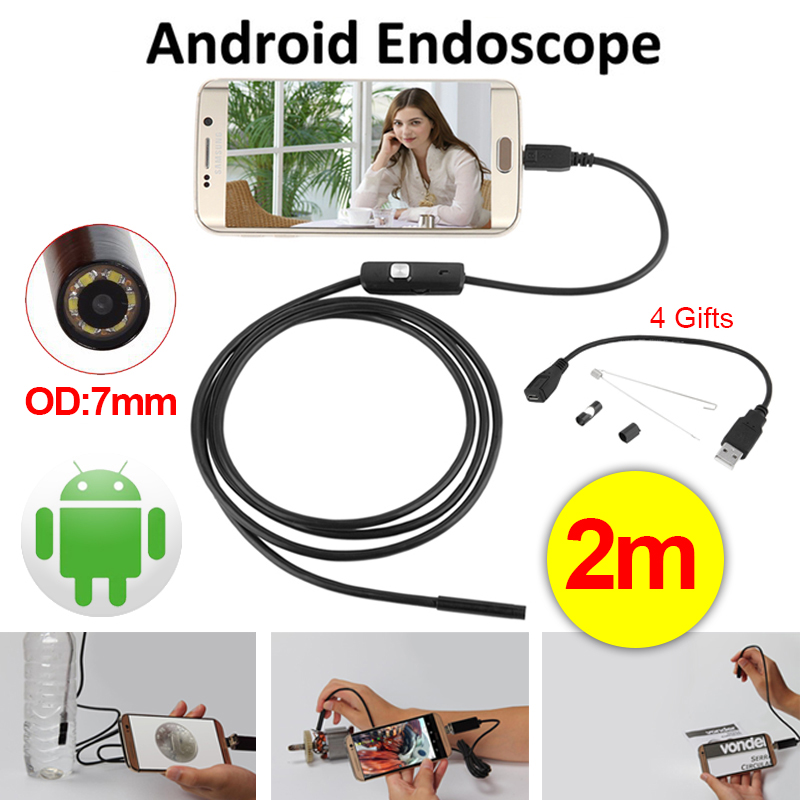 7mm Lens Mini USB Android Endoscope Camera Waterproof Snake Tube 2M Inspection Micro USB Borescope Android phone Endoskop Camera 8mm 2in1 micro usb endoscope camera 2m lens android phone endoscope mini camera inspection borescope tube snake mini camera