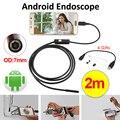 7mm lente mini usb endoscopio android cámara impermeable boroscopio inspección tubo de la serpiente 2 m micro usb android teléfono endoskop cámara