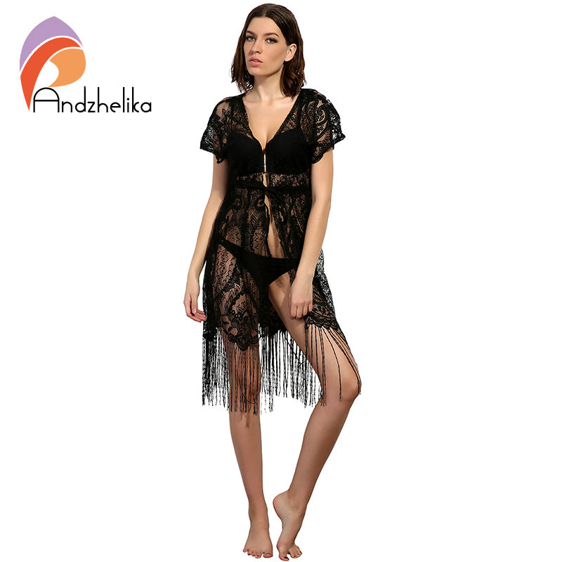 Andzhelika 2018 New Swimsuit Cover Up Summer Sexy Women Beachwear Cover Up Crochet Hollow Lace Tassel Bikini Bathing Suit AK2735 hotapei sexy black v neck lace up cover up dresses lc42090 women 2018 new beach dress hollow out crochet tunic beachwear vestido