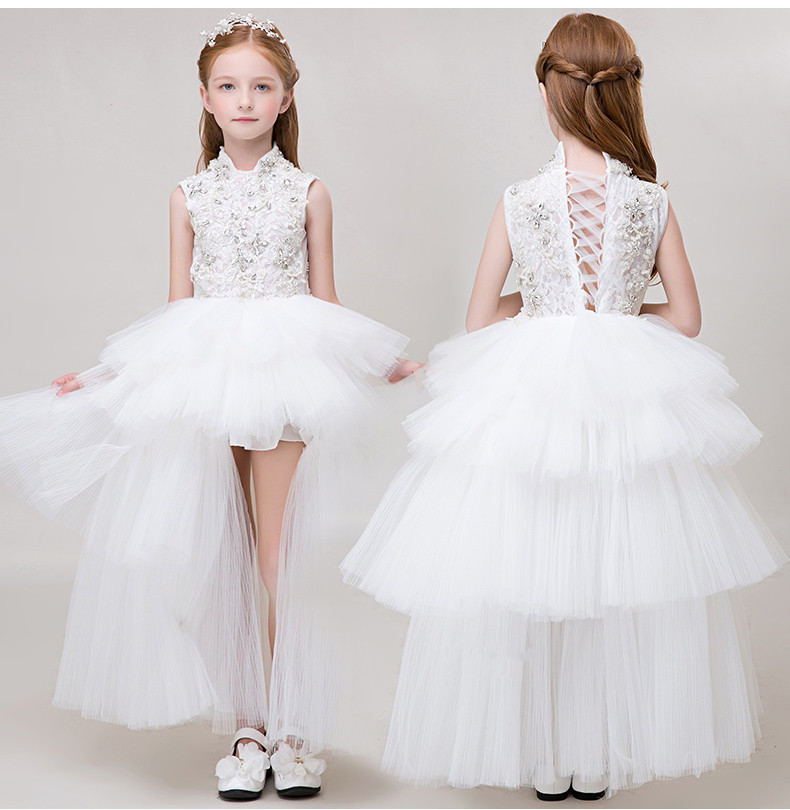 2017 Luxury Flower Girl Dresses For Weddings White Custom Made Princess Beaded Crystal Lace Bow Kids Pageant Gown Birthday Dress luxury fluffy flower girl dresses for weddings 3d floral appliques long sleeve girl s birthday dress gorgeous pageant gown