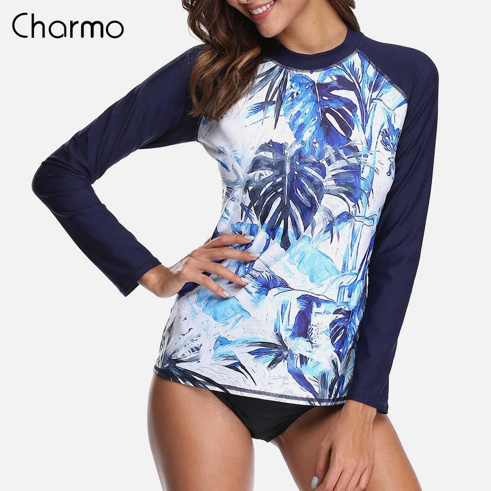 Charmo Wanita Lengan Panjang K Berlaku Baju Renang Retro Floral Cetak Baju Renang Ruam Penjaga UPF50 + Surfing Top Menjalankan Kaos Daun Cetak