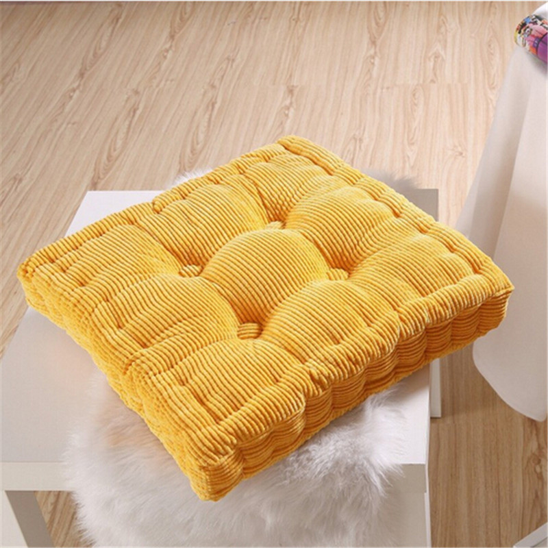 Thick Corduroy Elastic Chair Cushions For Kitchen Chair Solid Color Seat Cushion Square Floor ...