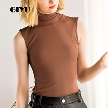 GIYU Solid Sleeveless T Shirt Women Turtleneck Tee Sexy Mesh Skinny Basic Tops Female