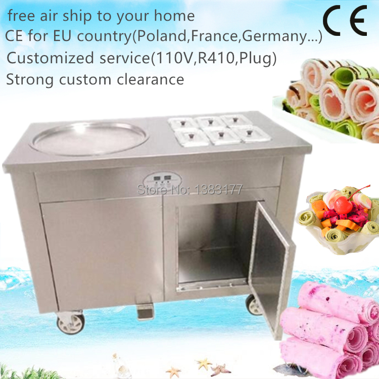 free air ship to  home CE thailand fry ice cream machine flat pan rolled fried ice pan machine fried ice cream rolls machine