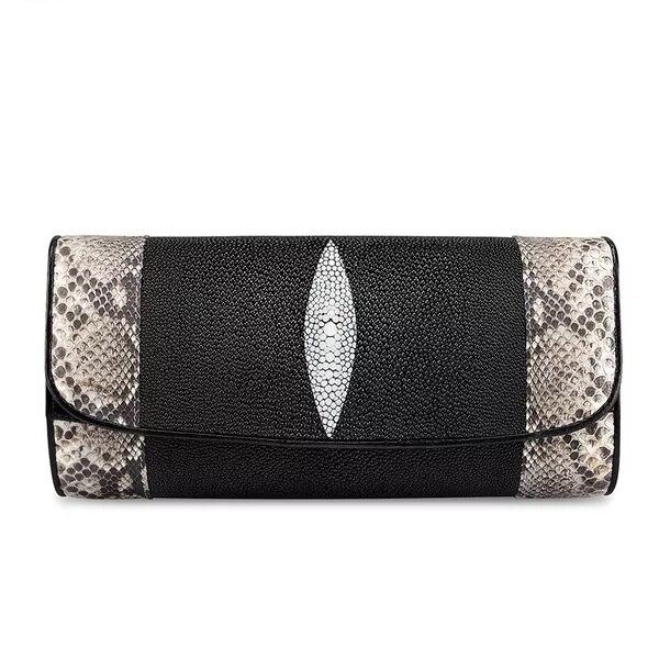 Wysokiej klasy oryginalna Python skóry kobiet koperta torebka dwa łańcuch pasy damska torba na jedno ramię skóra bydlęca Lady Crossbody torba w Torebki na ramię od Bagaże i torby na  Grupa 2