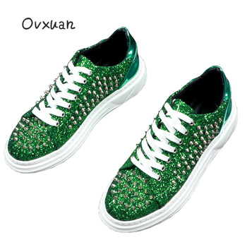 OVXUAN Chunky Heel Mens Ankle Boots Men Fashion Italian Style Glitter Rivet Luxury Brand Designer Shoes Hip Hop Sneakers for man