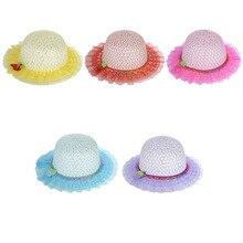 Stylish 2015 summer Beach Summer Children s Strawberry Lace Sun Hat kid Beach Topee Bohemia Bamboo