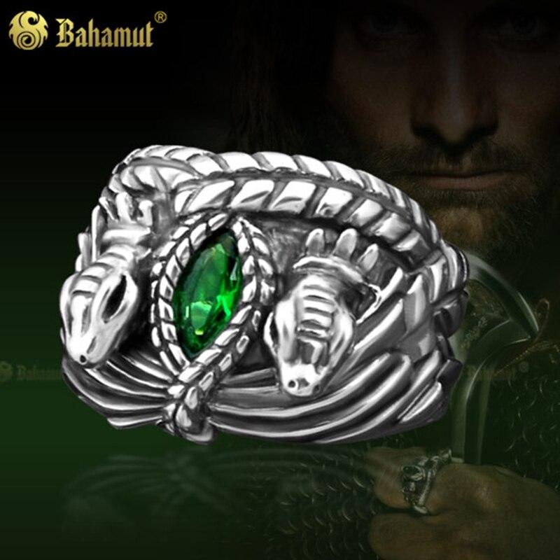 Для мужчин Кольца Арагорн Кольцо King благородный стерлингового серебра 925 Арагорн Кольцо Барахира LOTR ювелирные изделия для друга студент по... ...