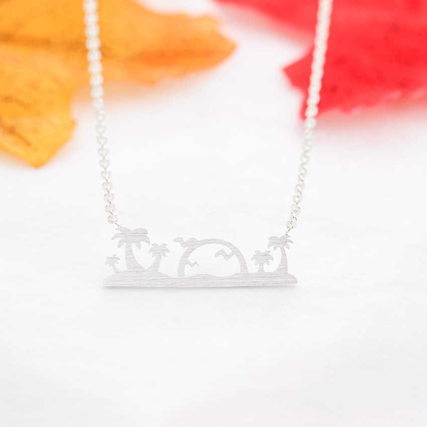 Hawaje Palm drzewo ptak słońce wisiorki naszyjniki dla kobiet mężczyzn ze stali nierdzewnej plaża wyspa biżuteria prezent świąteczny