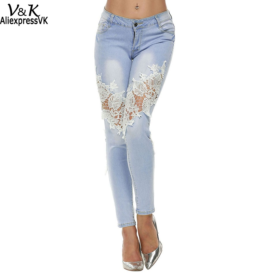 Brand Fashion Women Jeans Denim Pants Lace Splice Mid Waist Hollow out Casual Pencil Trousers 41