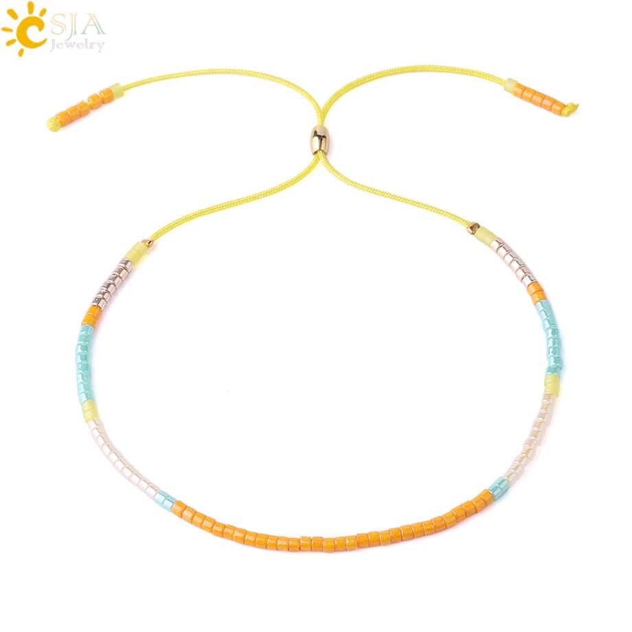 b4a9a0856 CSJA High Quality Mini Bead Bracelets Miyuki Delica Adjustable Lovely  Yellow Rope Women Lover Summer Charm