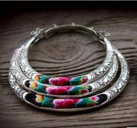 Vente chaude nouvelle-livraison gratuite Chinois À La Main Miao Argent collier 1-3row Tibet Argent Broderie Court Multicouche collier