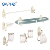 Gappo 6 PC Set Bathroom Accessories Soap Dish Double Toothbrush Holder Paper Holder Towel Bar Glass