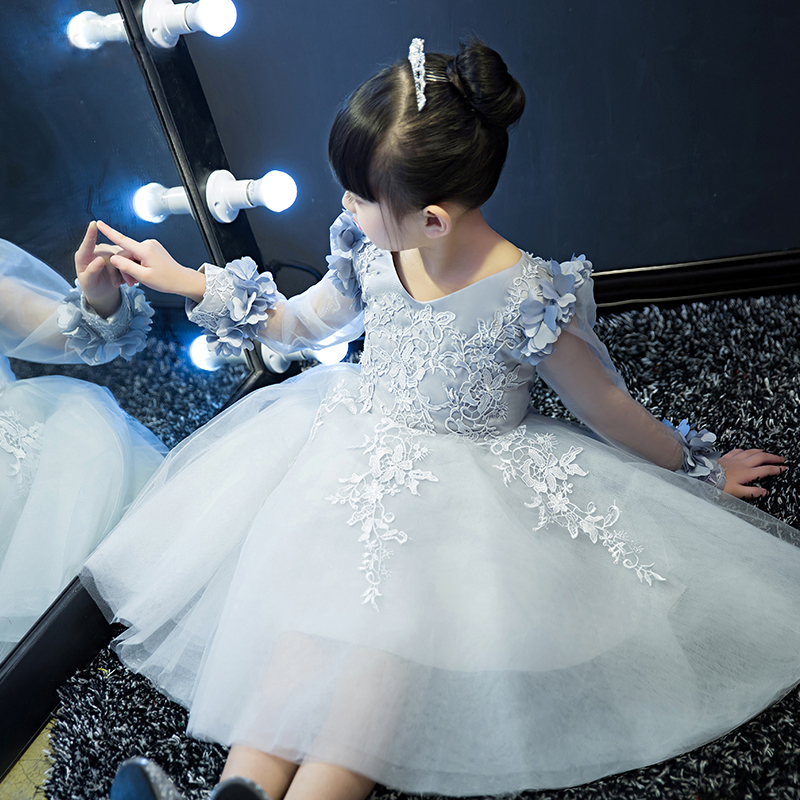 Flower appliqued girl princess ball gowns for kids party evening elegant v neck pretty holiday dress little girl silver pinkYY69