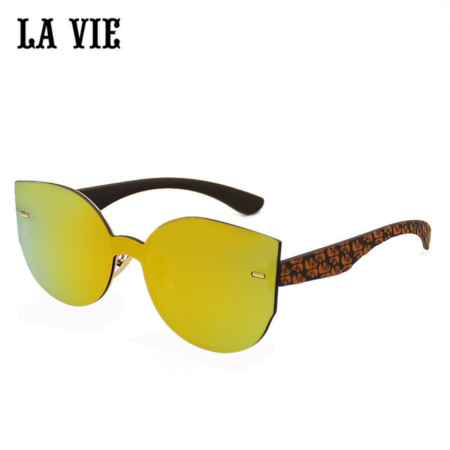 f1c6fde1df LA VIE New Cat Eye Sunglasses Women Fashion Metal Frame Mirror Sun Glasses  Unique Flat Ladies Sunglasses UV400 gafas de sol #839