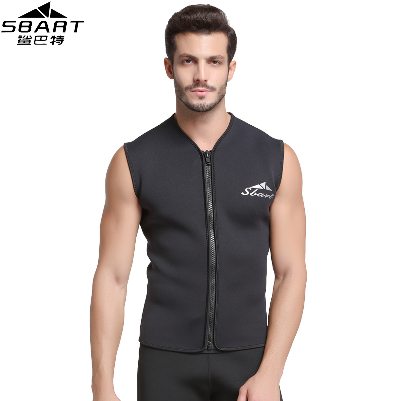 SBART 5MM Neoprene Wetsuit Vest Jacket Sleeveless Full Zipper Sunscreen Warm Wetsuits Top Mens For Cold Water Diving Surfing L women 1 5mm neoprene professional heated wetsuit vest one piece sleeveless swimming diving vest surfing snorkeling wetsuit