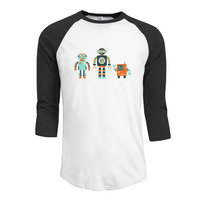 Cartoon Robot Shirts Raglan Crazy Sportshirt Man S