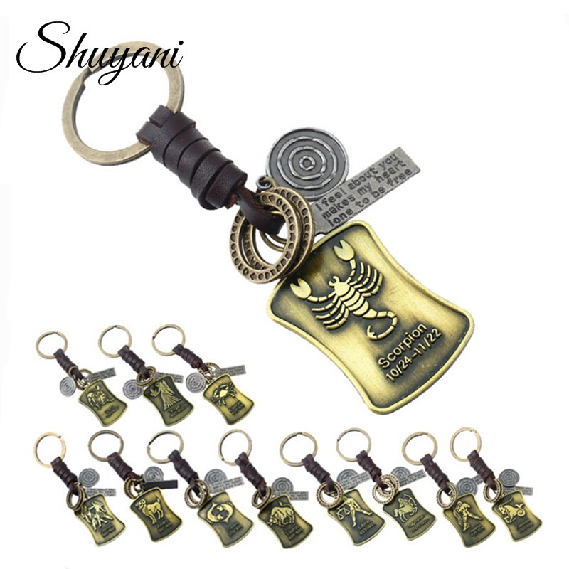 Shuyani 12 Style Constellation Leather Keychains Holder Bag Buckle Pendant For Car Keyrings Vintage Zodiac Signs Keychains