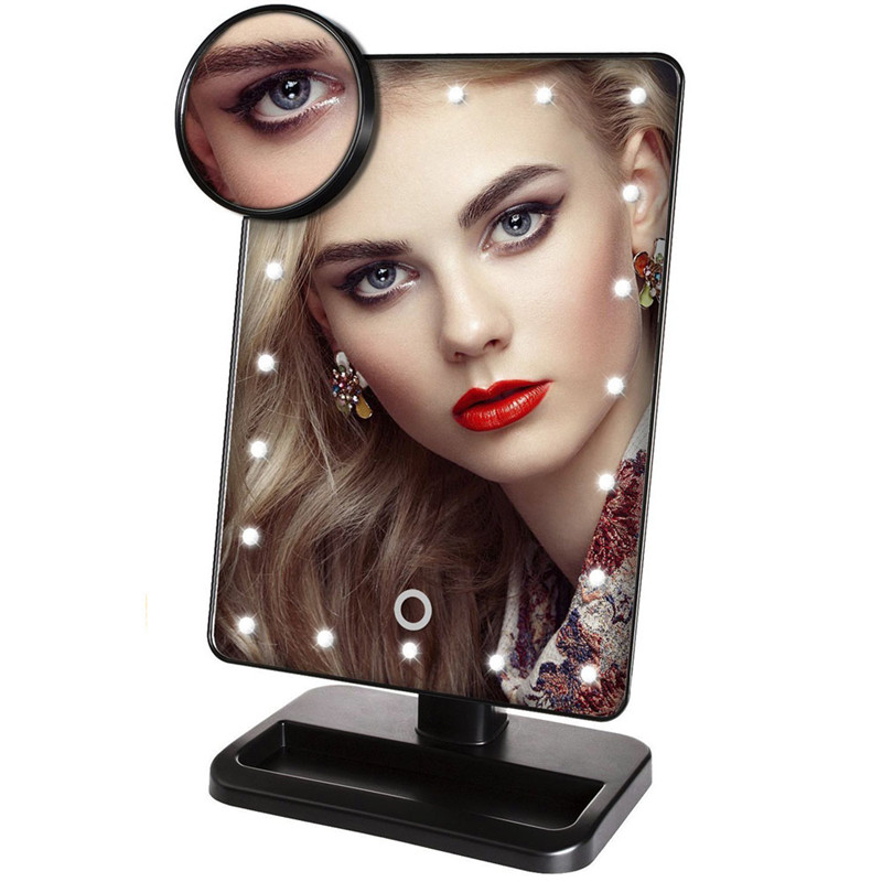 Bathroom Dresser Touch Screen 20 LED Lighted Vanity Mirrors Battery Powered Makeup Mirror with Removable 10x Magnifying Mirrors