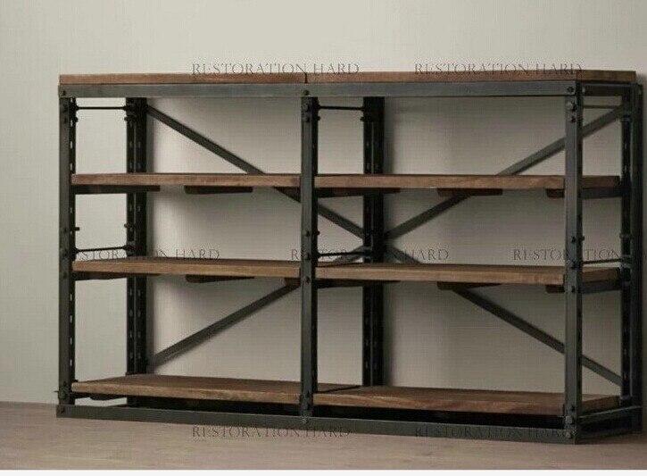 Americano soppalco in ferro retro assicella di legno libreria in