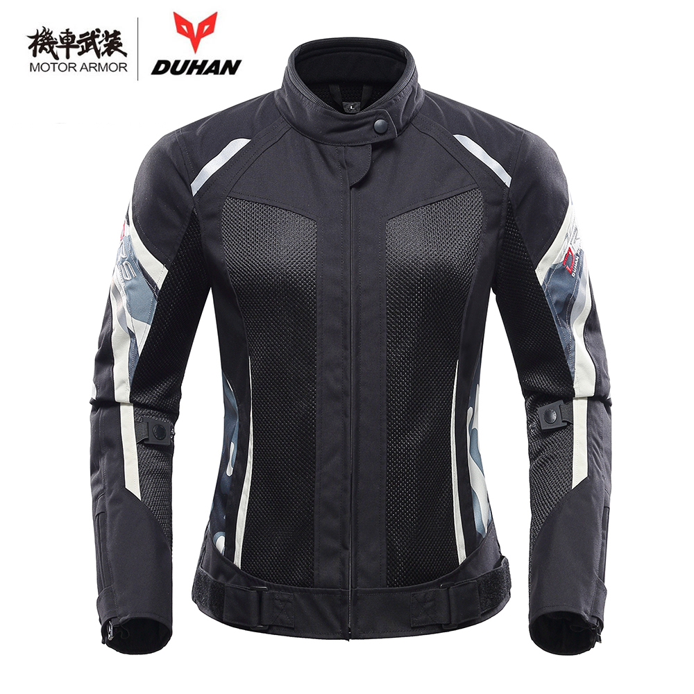 DUHAN Motorcycle Female Jacket Pants Set Spring Summer Breathable Mesh Moto Trousers Suits With CE Protector Clothing Gear Women