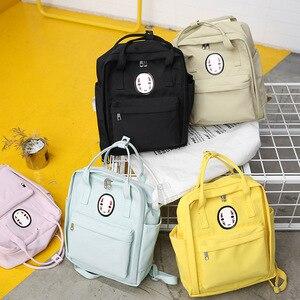 Image 3 - Kobiety Canvas plecaki szkolne torby dla nastolatków dziewczyny czarne urocze plecaki szkolne torby podróżne na ramię torby na książki Famale plecak