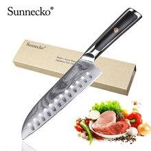 Sunnecko Премиум 7 дюймов нож santoku Дамасская сталь японский