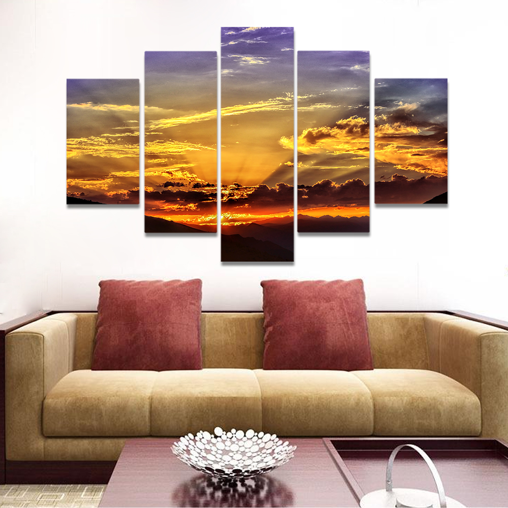 Unframed Canvas Painting Sunset Optical Line Dusk Clouds Prints Wall Pictures For Living Room Wall Art Decoration Dropshipping