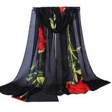 ce5124b86830 Foulard Nouvelle Mousseline de Soie Écharpe D été Femmes Mode Floral  Imprimé Long Châle Wraps Foulards Et Étoles Dames Soie Écha.