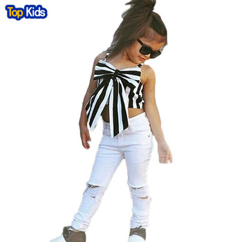2018 Fashion Girls Suit stripe Tops + pants 2 Pieces The Strapless Set Kids Bowknot Hole white Jeans girls clothing setMCC028 1