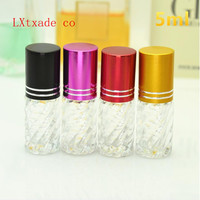 Free Shipping 5ml Lucency Glass Empty Perfume Roll On Bottles New Style Crystal Clear Parfume Essence Oil Packaging Containers