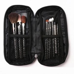 Image 4 - Korean Fashion 9Pcs Goat Hair Makeup Brushes with Leather Case Professional Eyebrow Lip Nose Eyelash Make up Brush Kit Gift