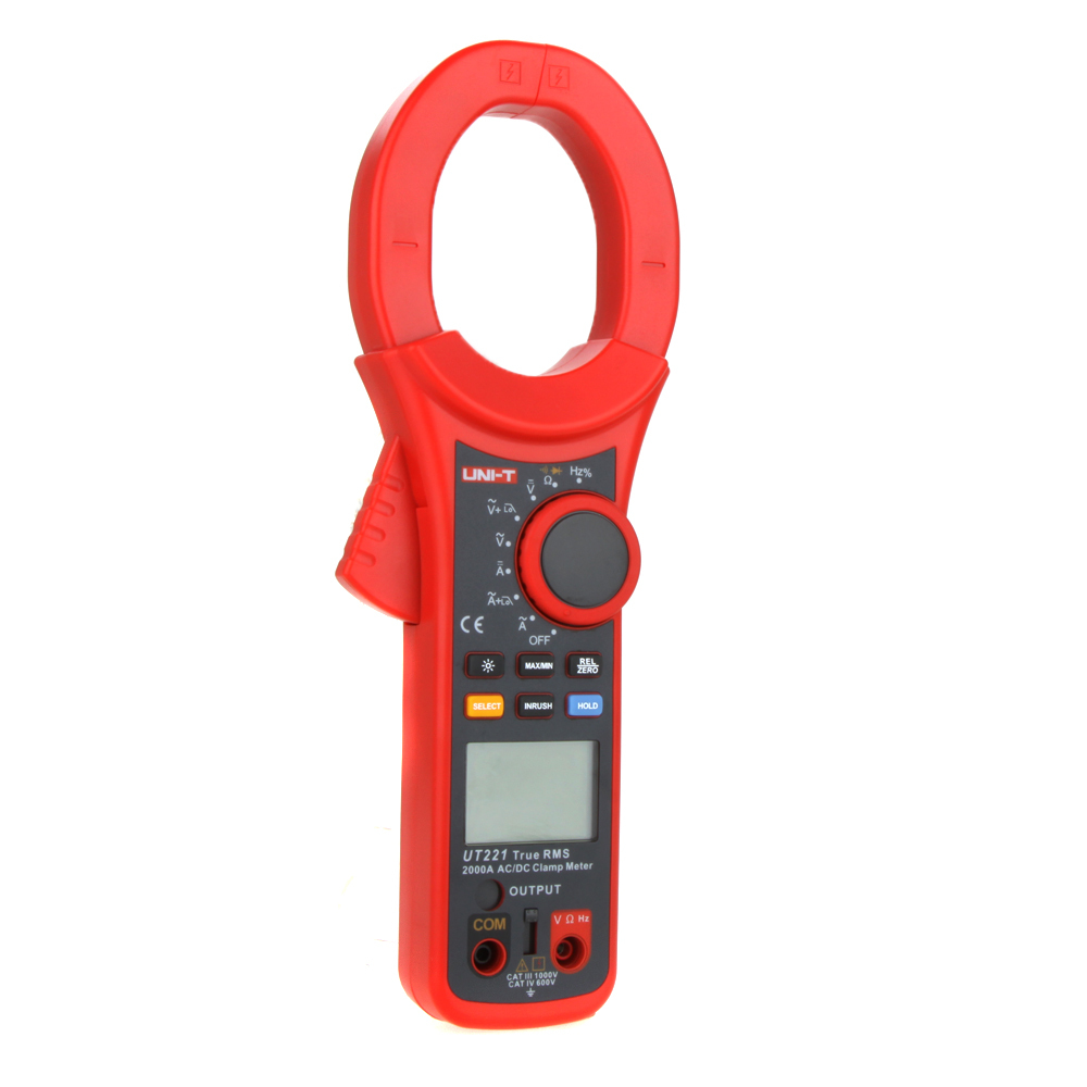 Professional UNI-T UT221 LCD Backlight 2000A True RMS Digital Clamp Meters W/ Frequency & Duty Cycle Test Multimeter