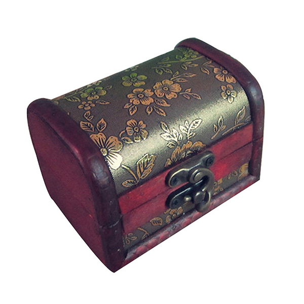 Portable Retro Antique Style Jewelery Box In Wood With Flower Relief, Red