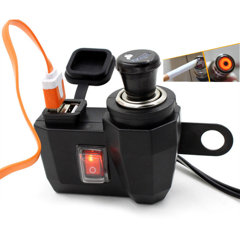 12 V Cigarette Lighter + 5 V Waterproof Motorbike Motorcycle phone charger