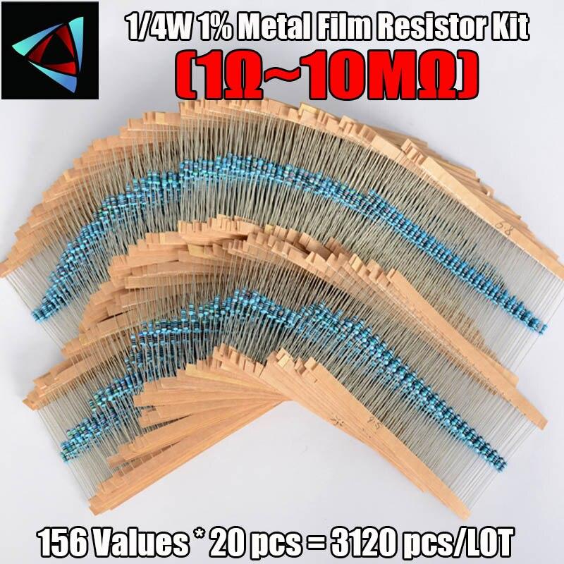 3120 pces 156 valores 1 ohm a 10 m ohm 1/4 w 1% resistores de filme de metal sortimento kit componentes eletrônicos