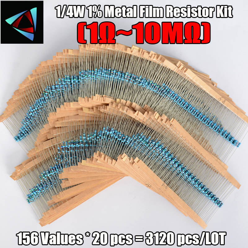 3120pcs 156 Values 1 ohm to 10M ohm 1/4W 1% Metal Film Resistors Assortment Kit Electronic Components    -