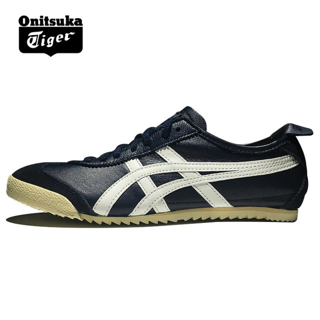 super popular 311d9 3e089 Original ONITSUKA TIGER MEXICO 66 Men s Shoes sheepskin Dark blue white  Unisex Low Classic Sneakers Badminton shoes TH938L-5001