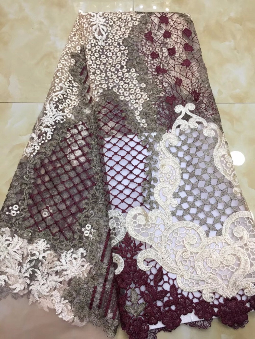 2019 High Quality Nigerian Lace Fabrics African French Net Lace Fabric Embroidered Tulle Mesh Lace Fabric-in Lace from Home & Garden    2