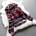 Real natural de piel de visón auténtico abrigo con capucha mujer moda colorida chaqueta de piel de encargo cualquier tamaño