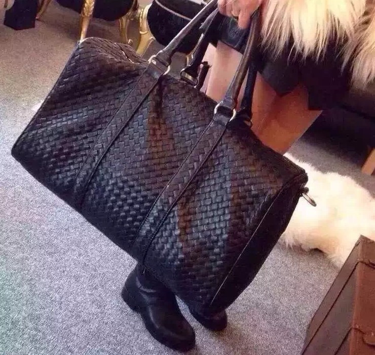 Woven Large Travel Bag Knitted Genuine Leather Handbag Luggage Bags Commercial Travel Duffle Handmade Luxury