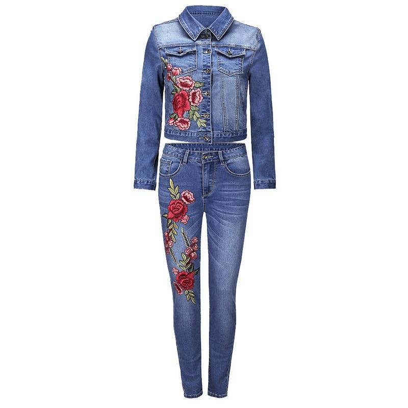2017 flower Embroidery Elegant long <font><b>sleeve</b></font> <font><b>Jeans</b></font> Pants+Denim Jackets coat Suits Women 2 Pieces Set Trousers Women Suit Two-piece