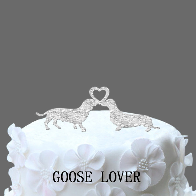 Dachshund Silhouette Wedding Cake Topper With Heart Weding Birthday Funny Decor