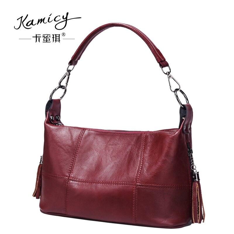 aee3d1d1b8a2 Kamicy 2018 new lady s handbag leather tassel bag retro mosaics handbag  single shoulder oblique satchel trend Stitching handbag