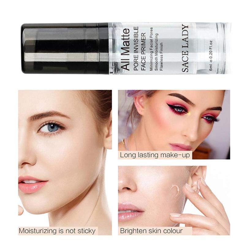 SACE LADY Face Base Primer Cream Liquid Matte Fine Lines kontrola oleju krem do twarzy rozjaśniający podkład podkładowy makijaż kosmetyczny 5