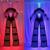 RGB Flashing LED Costume Light Suits LED Robot Suits Kryoman Robot David Guetta Robot With LED Helmet
