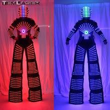 RGB Berkelip LED Kostum Suit Lampu LED Robot Suit Kryoman Robot David Guetta Robot Dengan Helmet LED