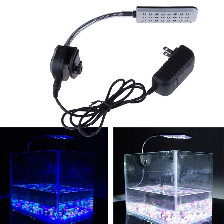 Fish tank lights for sale - 9cm 12v 24 Led Aquarium Light 2 Mode Clip Fish Tank Light White And Blue Water
